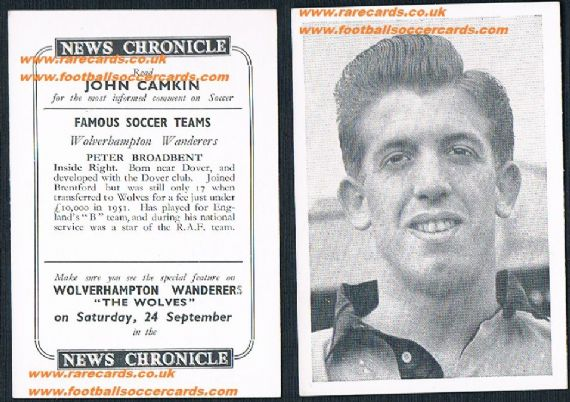 1955 Wolves News Chronicle Broadbent